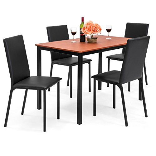 Best Choice Products 5-Piece Rectangle Dining Table Home Furniture Set w/4 Faux Leather Chairs - Black (Rectangle Kitchen Chairs Table And)