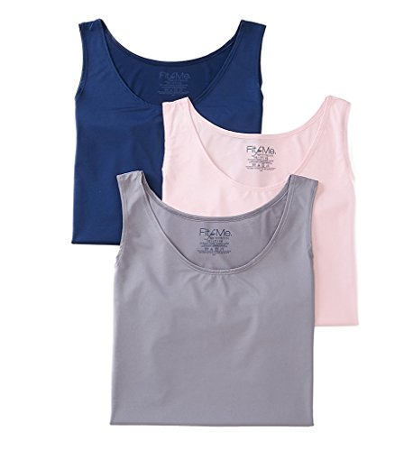 Fruit Of The Loom Women's Plus Size 4 Pack Fit for Me Microfiber Tank, Assorted, 2X/10 (Fruit Of The Loom Camisole)