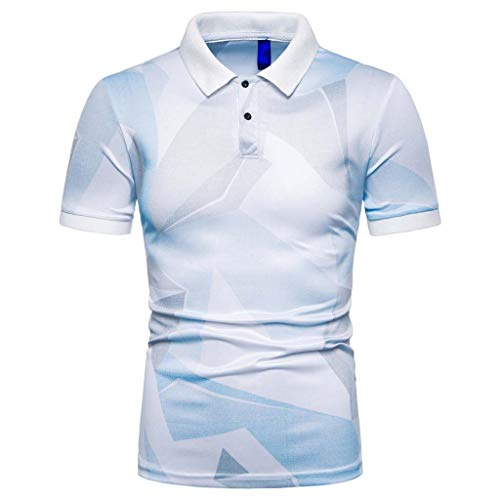 Printed Polo Shirts for Men,2019 Casual Regular-Fit Quick-Dry Golf Pique Polo T Shirt Short-Sleeve Jersey Henley by Leegor Light Blue
