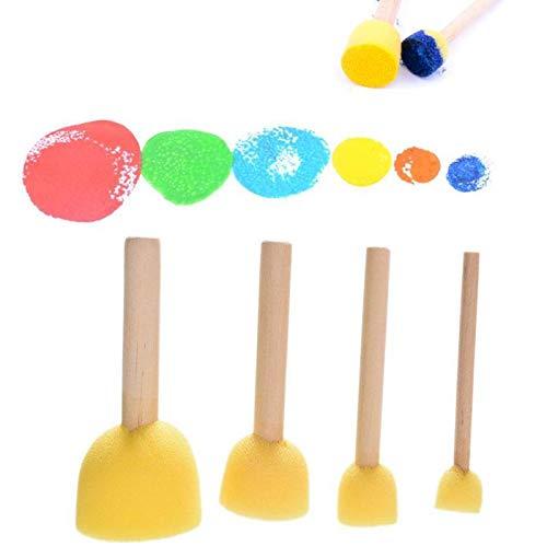 Ruluti 4Pcs Stencil Pinsel Schwamm-Werkzeug M/öBel Craft Schwamm Farbe Schaumstoffset Kinder Schwamm Stempel Holz-Spielzeug-Handgriff