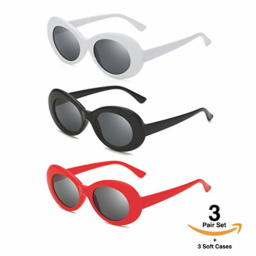 Clout Goggles Set With Soft Cases- Kurt Cobain Oval Sunglasses White, Black, - Big Sunglasses Meme
