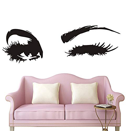 Wall Decal Beautiful Big Eye Lashes Home Decoratoin Vinyl Bedroom Art Decor Wall Sticker Women Beautiful Eyes Interior Design Bedroom Sticker Mural YO-94 (Black, 40X122CM) (Art Sticker Design)