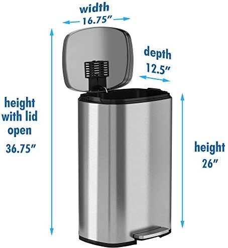 iTouchless ComfortableStep 13.2 Gallon Stainless Steel Step Trash Can with Odor Control System, 50 Liter Pedal Garbage Bin for Kitchen, Office, Home - Silent and Gentle Open and Close