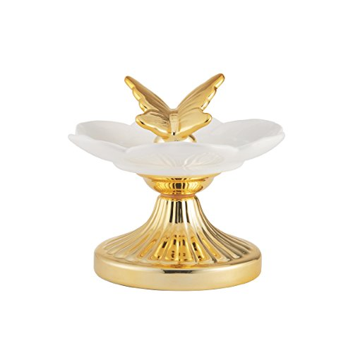 ELEMENTS Gold Pedestal Butterfly Ceramic Jewelry Tray, 7x6-Inch