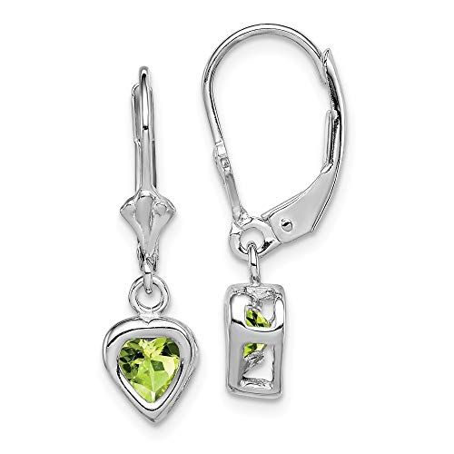 Solid 925 Sterling Silver 5mm Heart Simulated Peridot Leverback Earrings