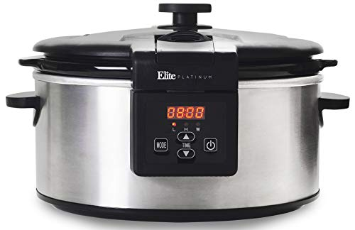 Elite Platinum MST-6013D Maxi-Matic 6 Quart Programmable Slow Cooker with Locking Lid, Black (Stainless Steel)