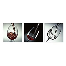 Wieco Art Wine and Cups 3 Panels Canvas Print Modern Canvas Wall Art for Home Decor 20x20inchx3pcs P3RAB002