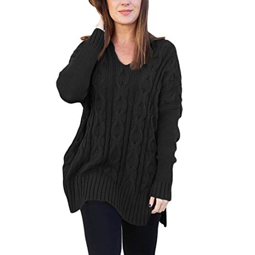 Rambling Women Long Sleeve Casual Knitted V Neck Loose Fit Knit Sweater Pullover Top Side Slits by Rambling