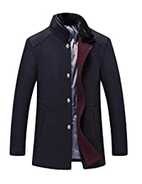 Domple Men's Winter Stand Collar Single breasted Wool-Blend Long Jacket Coat