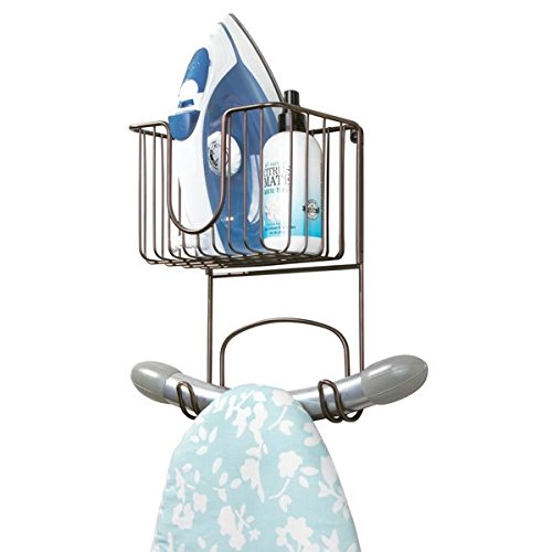 mDesign Laundry Room Wall Mount Ironing Board Holder with Small Basket - Bronze MetroDecor 9184MDL