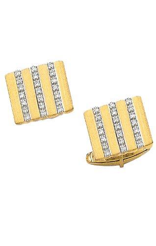 14K Yellow Gold Rectangle Cufflinks With Three Diamond Bars In Center-88083