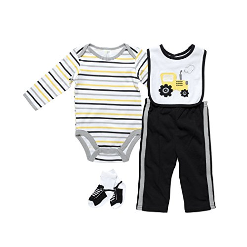 Baby Gear Baby-Boys 4 Piece Deluxe Long Sleeve Set Black Gold Tractor 3-6 M
