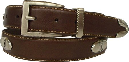 PGA TOUR Leather Concho Golf Belt - Brown