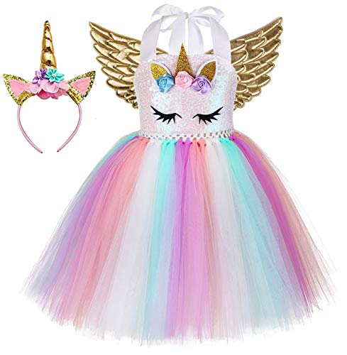 Unicorn Costumes For Teens (Tutu Dreams Unicorn Dress for Teen Girls Plus Size with Wings Headband Size 8-10 Prom Ball Birthday Party (Unicorn Dress+Gold Wings, XX-Large(9-10)