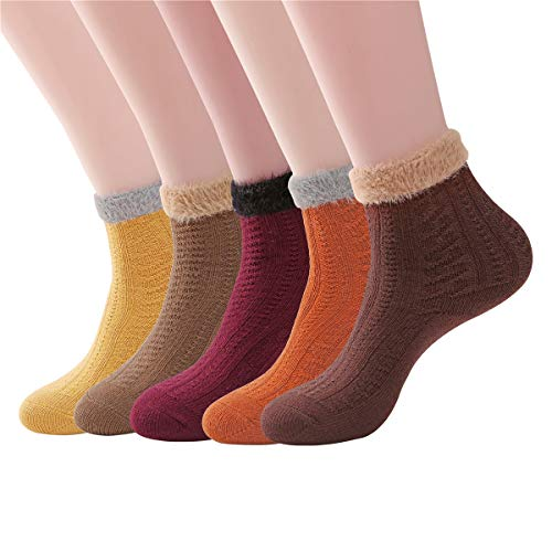 SKOLA Stockings Winter for Women,Thick Plush Fuzzy Crew Socks,Cashmere Wool Cold Weather,Super Warm Ladies Colorful -