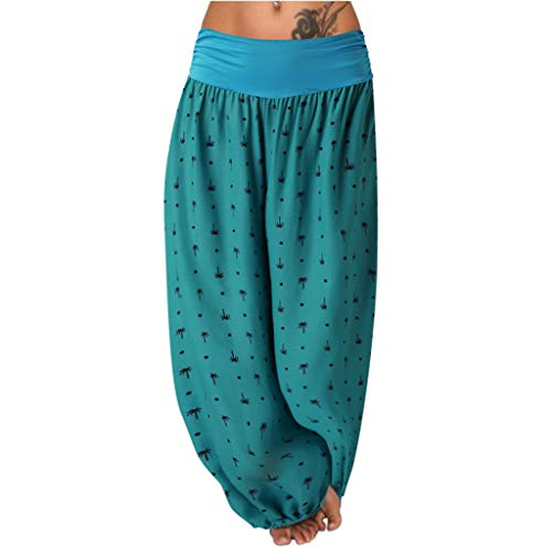 Toimothcn Women's Yoga Pants Wide Leg Elastic Waist Printed Hippie Palazzo Pants Plus Size Trousers(Green,L)