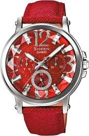 Casio Sheen Women's SHE-3035L-4 Analog Chrongraph Red Genuine Leather Band Watch