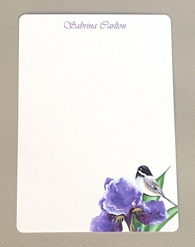 Chickadee & Purple Iris Women's Personalized Monogram Flat Note Cards With Envelopes, Custom Stationery Set, Girl's Monogram Stationary ()