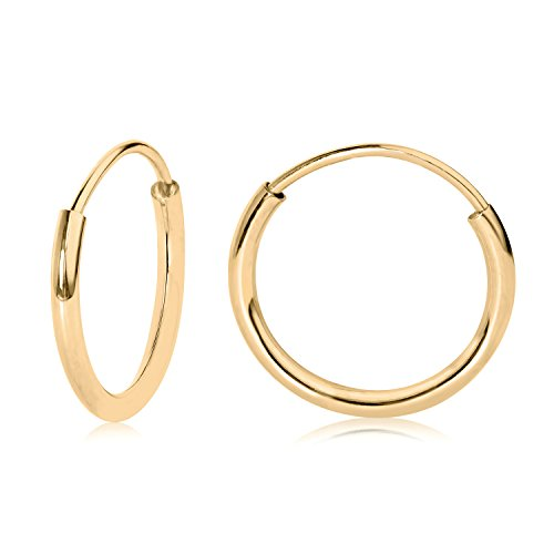 14k Yellow Gold Endless Hoop Earrings 10mm (14k Yellow Gold Childrens Hoop)