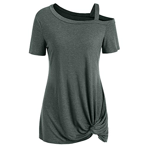 - KCatsy Amazon's hot are Popular Short Sleeve Skew Neck Knotted Tee Army Green