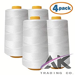 AK Trading 4-Pack White All Purpose Sewing Thread Cones (6000 Yards Each) of High Tensile Polyester Thread Spools for Sewing, Quilting, Serger Machines, Overlock, Merrow & Hand Embroidery.