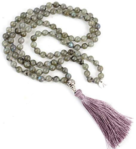 (Adabele Premium 108 Mala Beads Malas Necklace - Labradorite Healing Crystal Buddhist Prayer Beads Japa Mala Tassel for Meditation Yoga Reiki Chakra Stones (Unisex) RGN2)