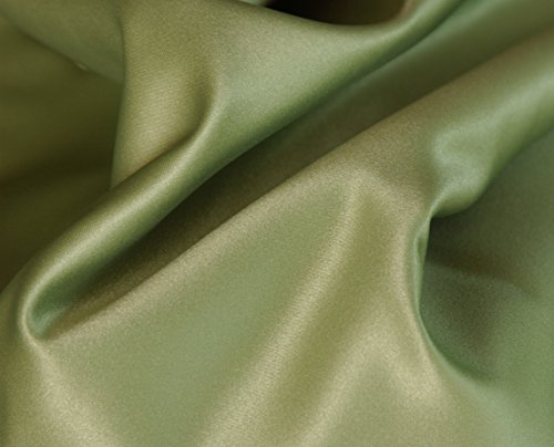 (4-Piece FULL size, SOLID Sage Green Soft Silky Charmeuse Satin Sheet Set - Flat, Fitted and Pillow Cases. Deep Pockets)