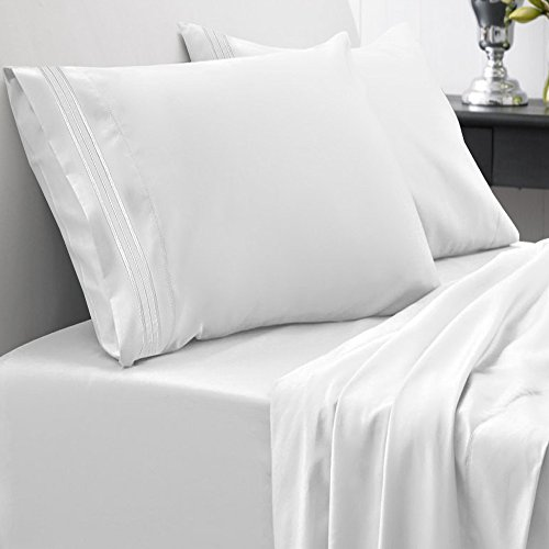 Sweet Home Collection 1800 Thread Count Egyptian Quality Brushed Microfiber 4 Piece Deep Pocket Bed Sheet Set, Queen, White by Sweet Home Collection (Image #1)