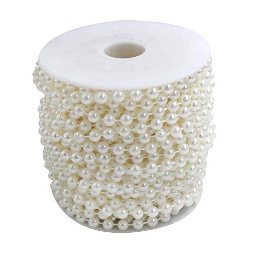 (Wispun 6mm Pearl Bead Garland Spool Rope Wedding Centerpiece Decor 20M=65ft (white))