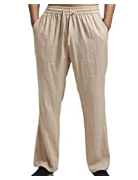 ONCEFIRST Men's Drawstring Linen Pants Straight Pants Yoga Beach Summer Trousers