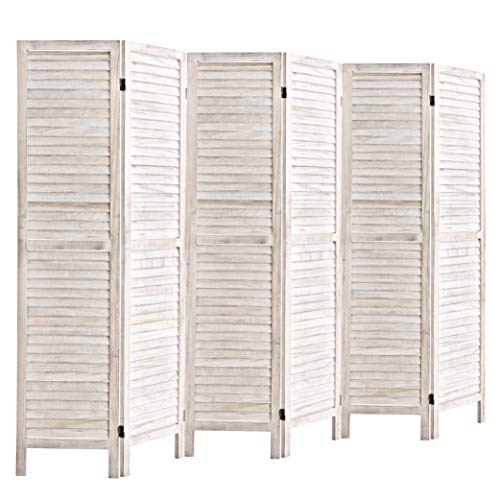 5.6 Ft Tall Wood Louvered Room Divider Solid Wood Folding Room Divider Screens Panel Divider & Room Dividers Room Dividers and Folding Privacy Screens for Living Room / Offcie(6 Panel, White-washed) (Screens Dividers)