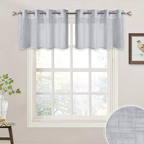 - RYB HOME Semi Sheer Linen Curtain Tiers for Bedroom, Window Valance Set for Bathroom/Kitchen Hazy Voile for Privacy Protect/Light Diffuse, Width 52 in x Length 18 in, 2 Pcs, Dove Grey