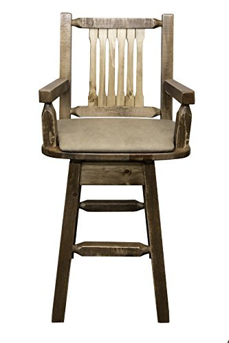 Montana Woodworks MWHCBSWSCASSLBUCK Homestead Collection Captain's Barstool with Back & Swivel, Stain & Lacquer Finish with Upholstered Seat, Buckskin Pattern