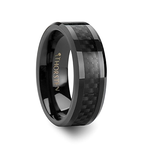 Ceramic Comfort Band - THORSTEN - ONYX Black Ceramic Wedding Ring with Black Carbon Fiber Inlay and Polished Beveled Edges Comfort Fit Lightweight Durable Wedding Band - 8mm