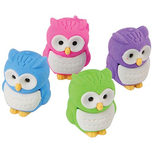 Owl Erasers, Assorted Colors (Pack of 12)