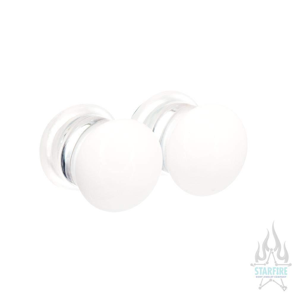 White Gorilla Glass Single-Flared Glass Colorfront Plugs Multiple