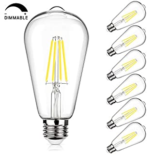 Vintage LED Edison Bulb 100W Equivalent 1050 Lumens, Dimmable 10W ST64 LED Filament Light Bulbs, Daylight White 5000K Antique Style Lighting, E26 Medium Screw Base, Pack of 6