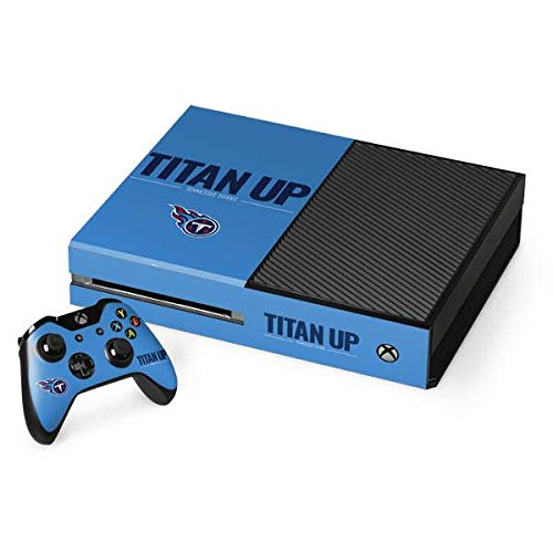 Skinit NFL Tennessee Titans Xbox One Console and Controller Bundle Skin - Tennessee Titans Team Motto Design - Ultra Thin, Lightweight Vinyl Decal Protection by Skinit