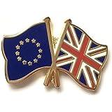 UNION JACK & THE EU DOUBLE ENAMEL LAPEL PIN BADGE
