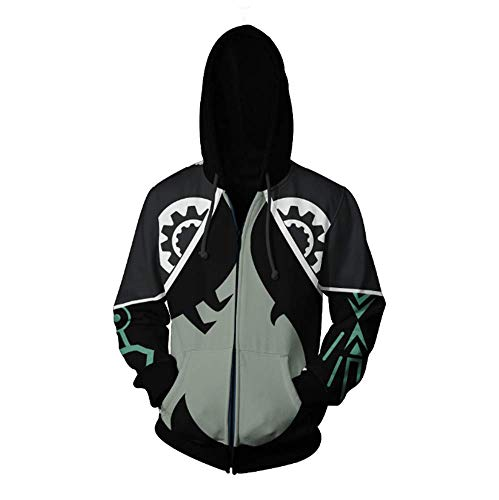 Game Cosplay Halloween Midna Costume 3D Zip Up Hoodie Jacket for Unisex (Medium, Black)