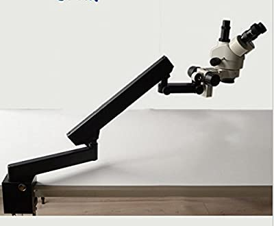 GOWE 7X-45X STEREO ZOOM MICROSCOPE +ARTICULATING STAND+144LED Illumination Ring Light Microscope Accessories