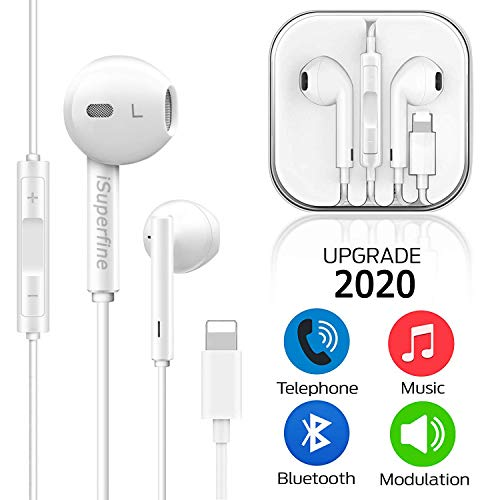 iSuperfine Earbuds Headset Wired Earphones Headphone with Microphone and Volume Control, Compatible with iPhone 11/11Pro/11Pro Max/Xs/XS Max/XR/X/8/8 Plus/7 and iOS 11/12/13 (White)