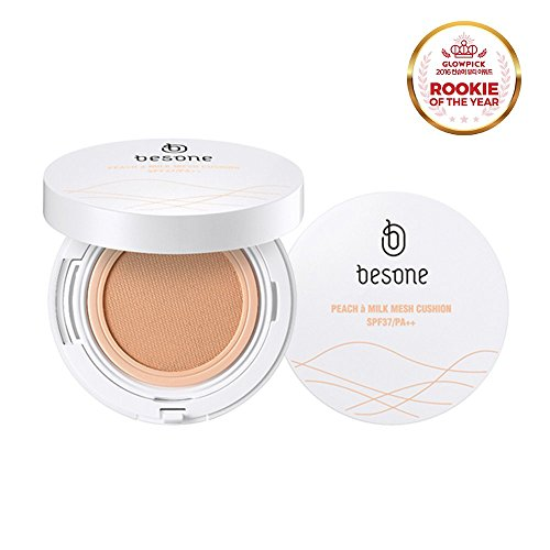 BESONE Peach à Milk Mesh Cushion Foundation BB Cream Compact Cover Moist Makeup, SPF37/PA++, 21 Light Beige (Exp: 20181024)