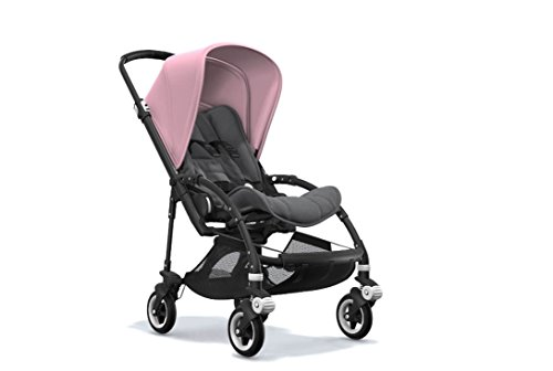 Bugaboo Bee5 Stroller Bundle with Black Base/Grips, Soft Pink Canopy, Grey Melange Seat and White Wheel Caps by Bugaboo