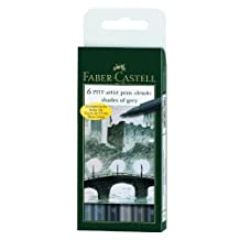 Faber-Castell PITT Artist Brush Pen Set 6-Color Shades of Gray Set