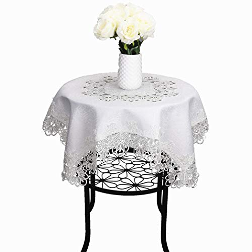 TaiXiuHome White European Style Minimalist Floral Embroidery Lace Tablecloth Hollow Top Decoration Square Approx 33x33 inch (85x85cm) (Square Table Cloth Lace)