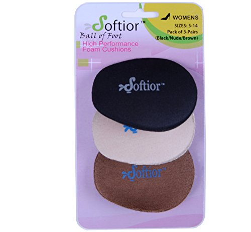 Softior Ball of Foot Cushions for High Heels Dance Shoes Sandals Boots, Pack 3-Pairs