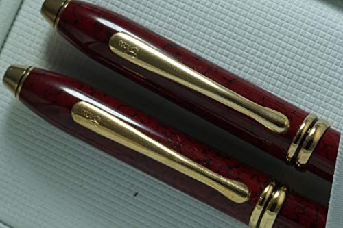 Cross Made in USA Townsend Cardinal Red Wood Marble and 23KT Gold Ballpoint Pen and 0.5MM Pencil Set Made in Lincoln, USA
