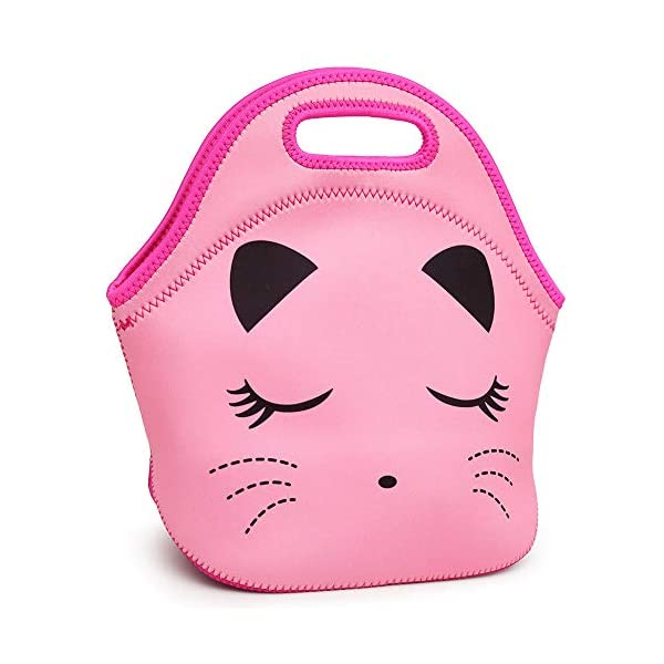 Moonmo Cat Face Unicorn Face Insulated Neoprene Lunch Bag for Women and Kids - Reusable Soft Lunch Tote for Work and School (Cat Black) 6