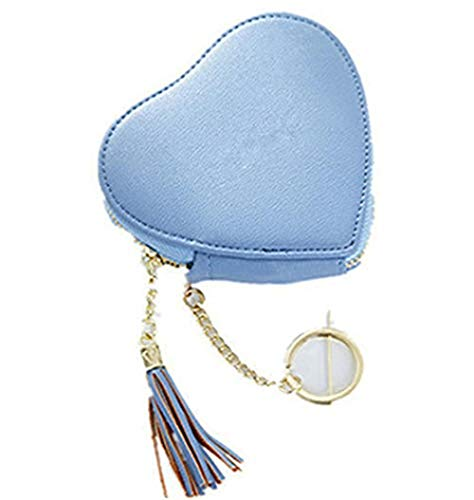 (Women's Heart Keychain Faux Leather Coin Purse Zipper Wallet with Keychain Backpack Clip Keychain Charm Tote Hanging [1PCS], (C))